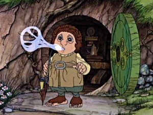 "Bilbo Baggins standing in front of the door to his house, from the animated feature film ""The Hobbit"""
